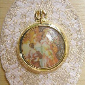 Classic Beauties Vintage Limoges Cabochon Pendant